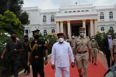 Governor Thawarchand Gehlot arrives for oath taking function