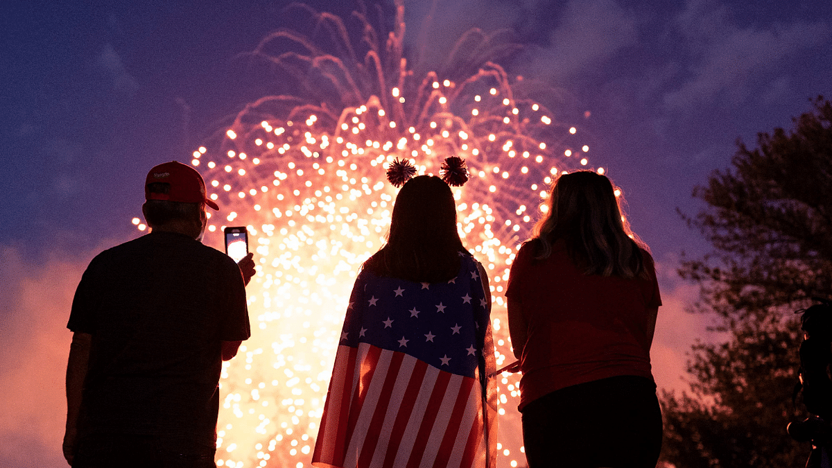 Visitors watch the Independence Day fireworks display near the Lincoln Memorial on the National Mall on July 4, 2021 in Washington, DC.