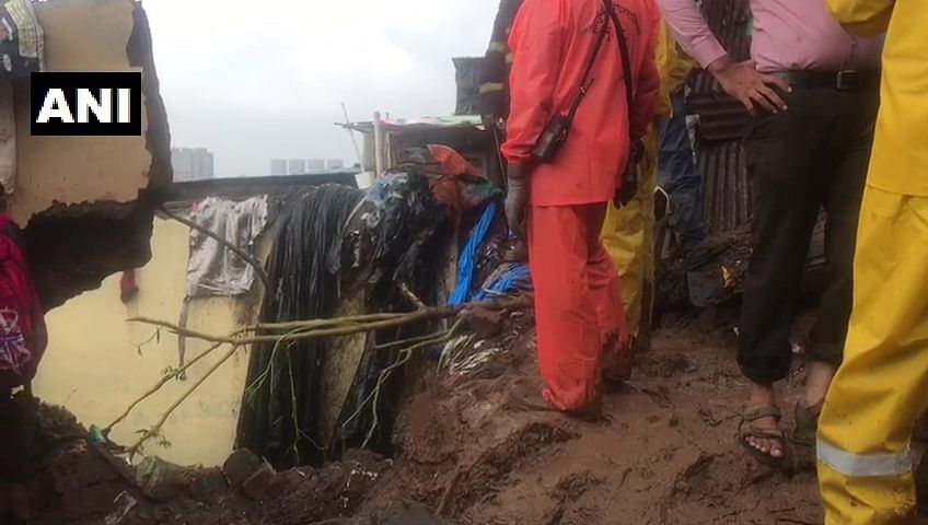 Three hutment dwellers were killed as five shanties collapsed after a landslide following incessant overnight rains in Mumbai, a civic official said on Sunday.