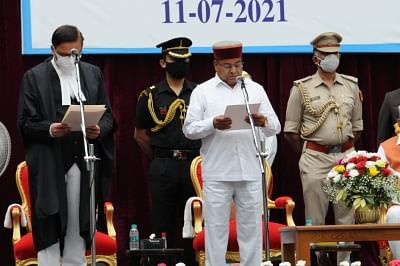 Karnataka Chief Justice Abhay Srinivas Oka administering oath to new Governor Thawarchand Gehlot