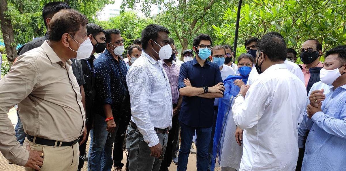 Mumbai: Aaditya Thackeray takes stock of flood work at Hindmata