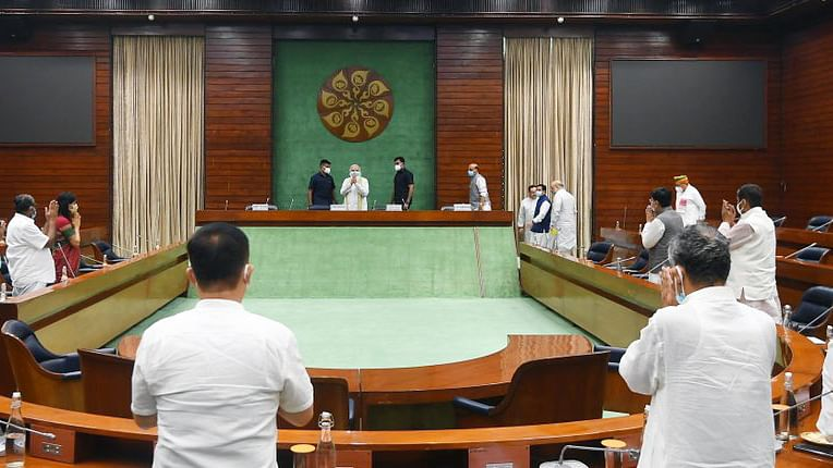 New Delhi, July 18 (ANI): A meeting of the NDA floor leaders was called upon and chaired by Prime Minister Narendra Modi, a day before the commencement of the Monsoon session of Parliament, in New Delhi on Sunday.