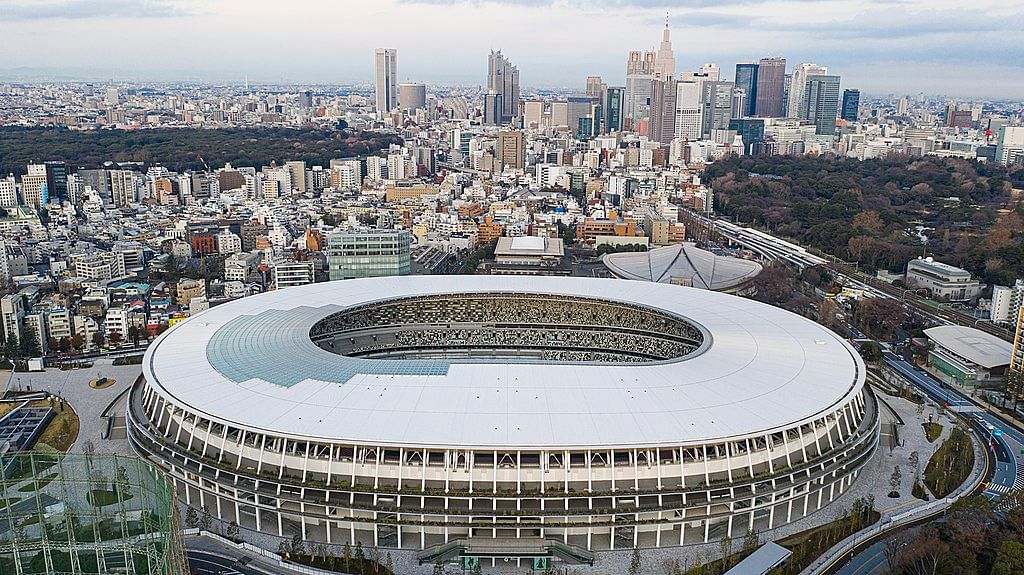 Aerial view of Japan's New National Stadium in the Shinjuku