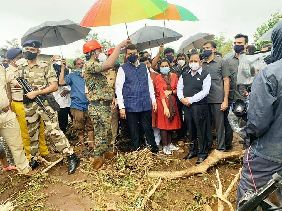 In Photos: Union Minister Narayan Rane visits Maharashtra's Taliye village, assures Central help to flood victims