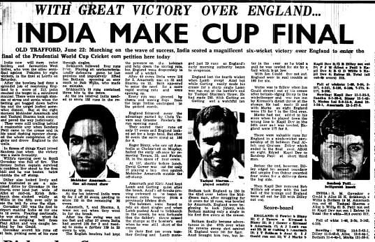 Match-report of India's 1983 semi-final against England