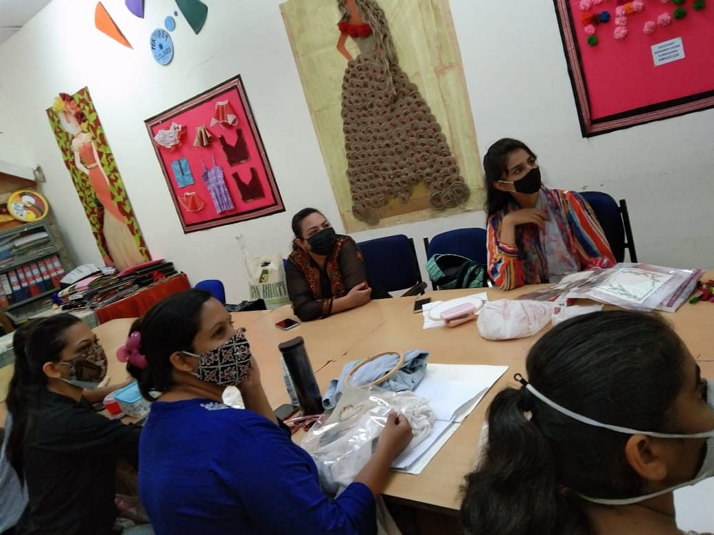 Fashion and interior designing students learned about importance of embroidery in home furnishings in Bhopal On Thursday