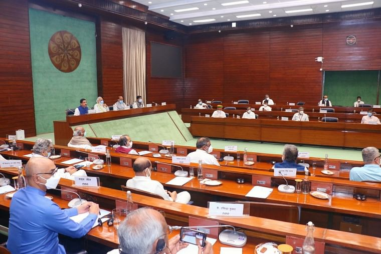 Prime Minister Narendra Modi chairs an all-party meeting at Parliament, a day before the commencement of the Monsoon session of Parliament,