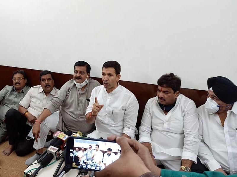 Jitu Patwari interacting with the media