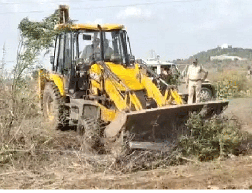 Encroachment removal gang in Hirapur village on Thursday