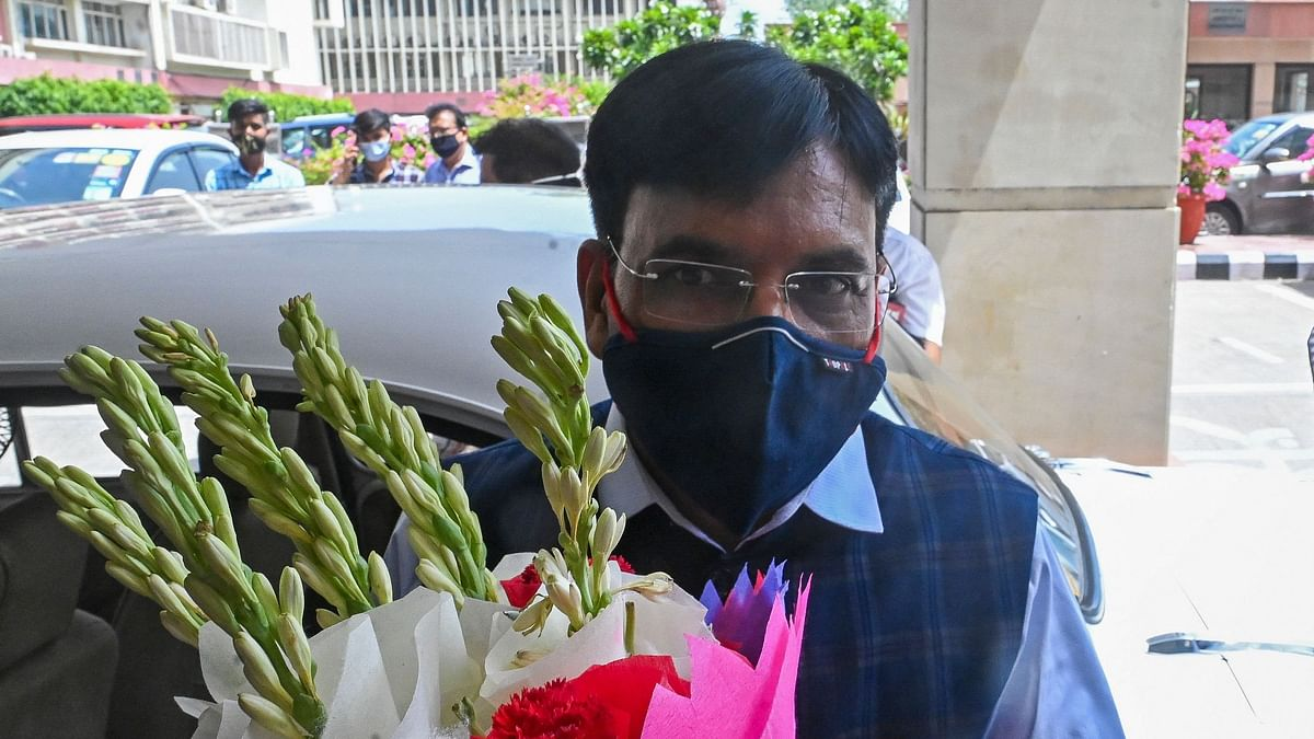 New Indian Union Minister of Health and Family Welfare and minister of Chemicals and Fertilisers Mansukh Mandaviya arrives to take charge in Health ministry in New Delhi on July 8, 2021.