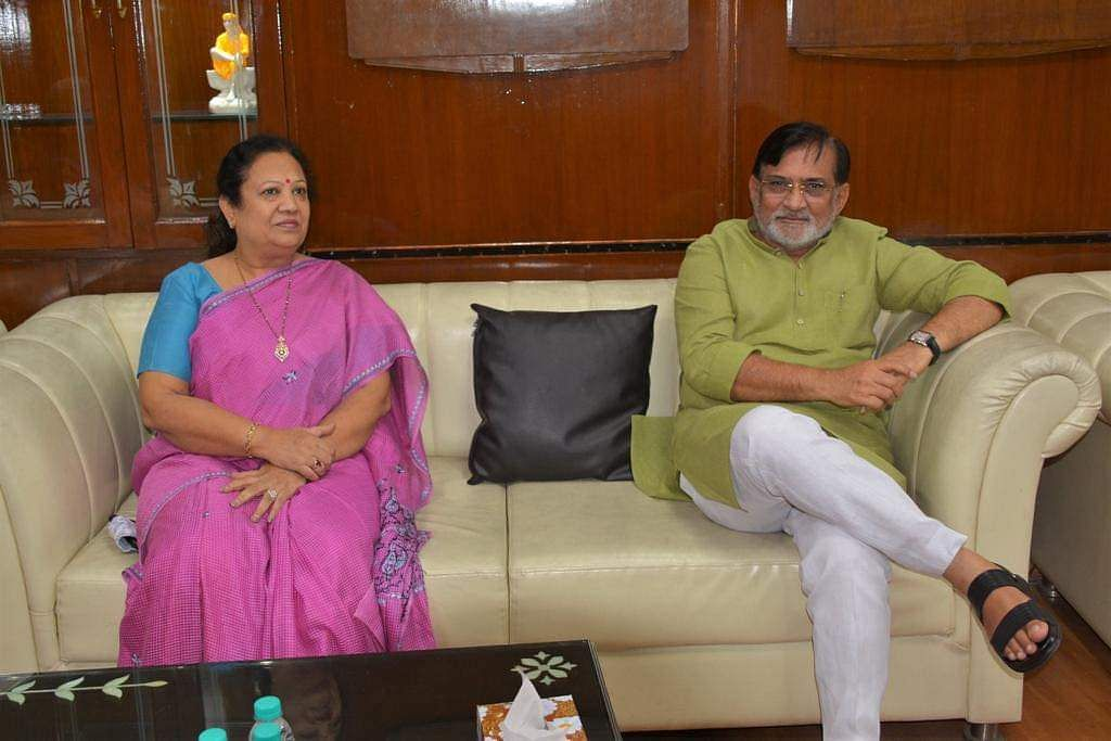 Administrator Praful Patel meets newly appointed Minister of State for Railways and Textiles Darshana Jardosh