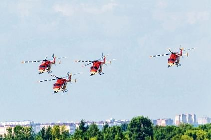 IAF Sarang Helicopter Display Team perform for the first time at the MAKS International Air Show at Zhukovsky International Airport, Russia on Tuesday.
