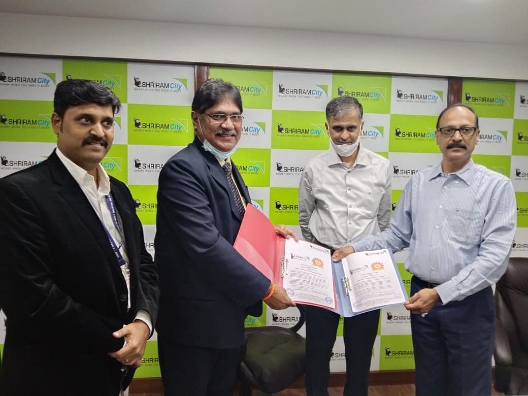 Officials of Shriram City Union Finance, and Bharath Institute of Higher Education and Research at the MoU