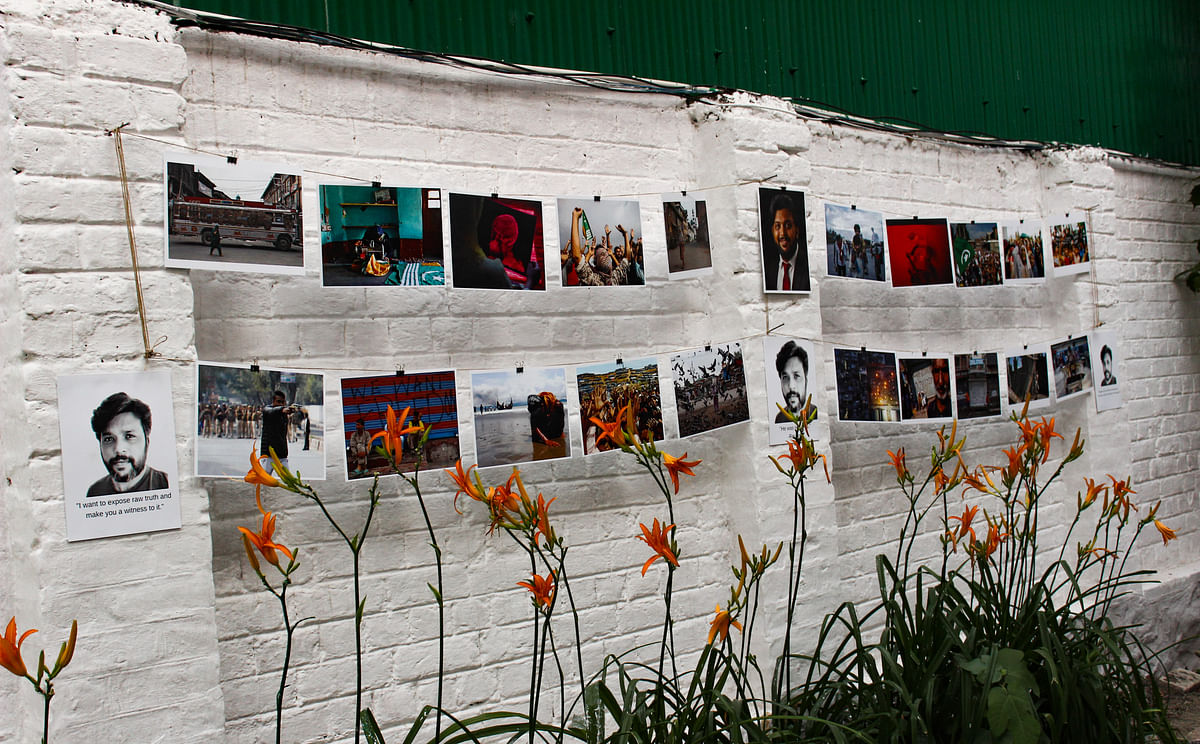 Journalists paid tributes to late photojournalist Danish Siddiqui by holding a candlelight vigil, displaying photographs from his work, and offering prayers at the Kashmir Press Club in Srinagar, Jammu & Kashmir on July 18, 2021.