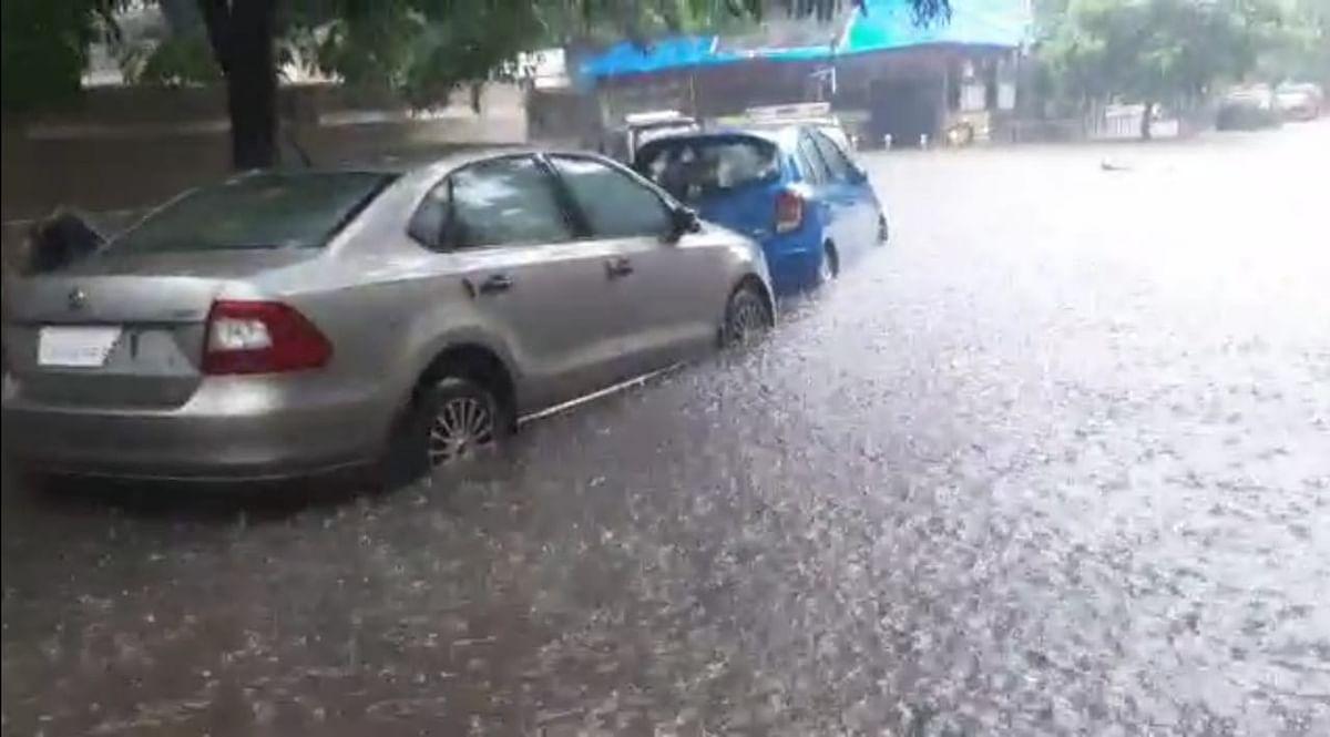 Heavy overnight rainfall causes water-logging on the streets of Dahisar, Mumbai on Friday, July 16, 2021.