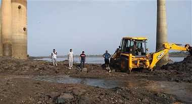 JCB was deployed to excavate soil for laying drain up to intake well