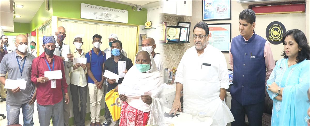 Cabinet Minister – Nawab Malik visits CARF office for cheque distribution to Cancer patients
