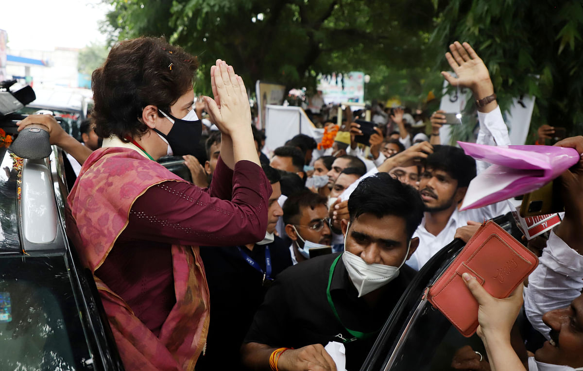 Uttar Pradesh, July 16 (ANI): All India Congress Committee (AICC) General Secretary Priyanka Gandhi Vadra greets Party supporters at Chaudhary Charan Singh International Airport, in Lucknow on Friday.