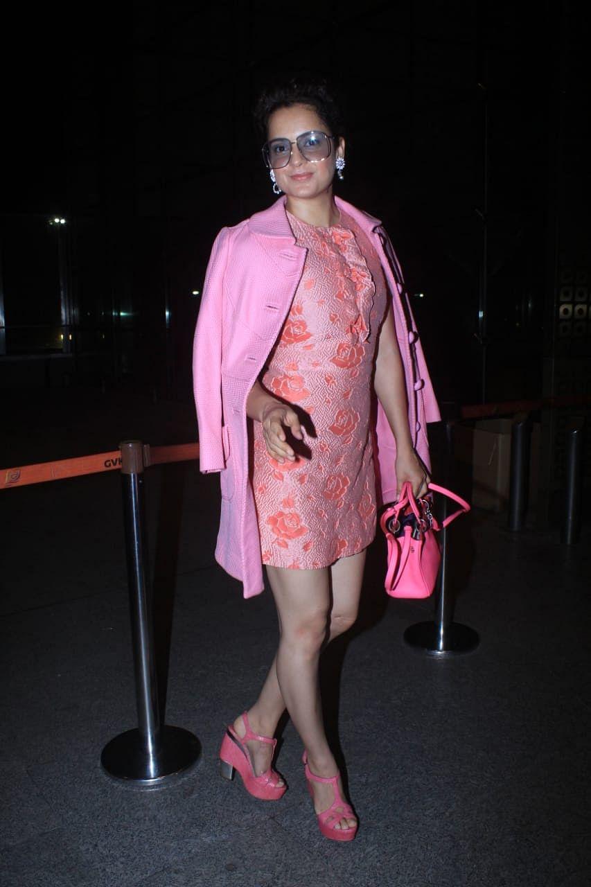 After passport row, Kangana spotted at Mumbai airport; ditches her usual sarees for a micro mini dress