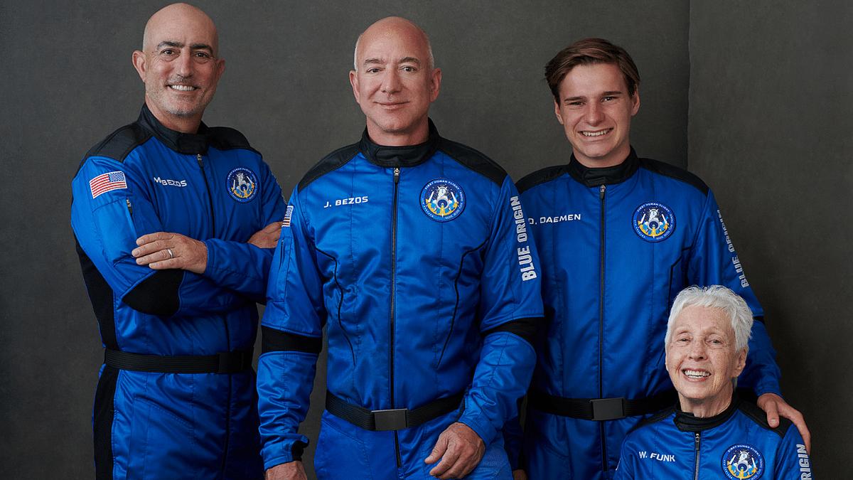 (L-R) Mark Bezos, Jeff Bezos, Oliver Daemen, and pilot Wally Funk.