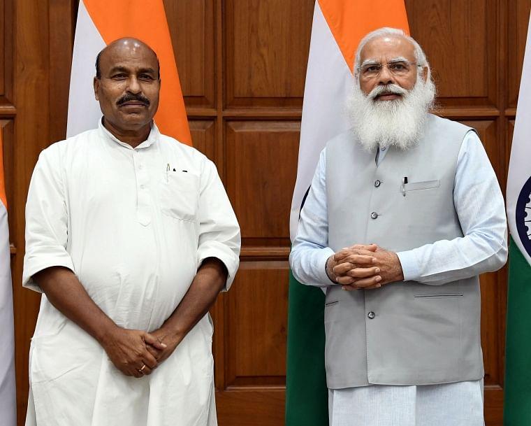 Virendra Kumar calls on Prime Minister Narendra Modi, at 7, Lok Kalyan Marg, New Delhi on Wednesday
