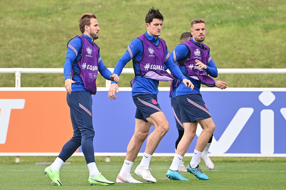 Harry Kane (L) along with teammates