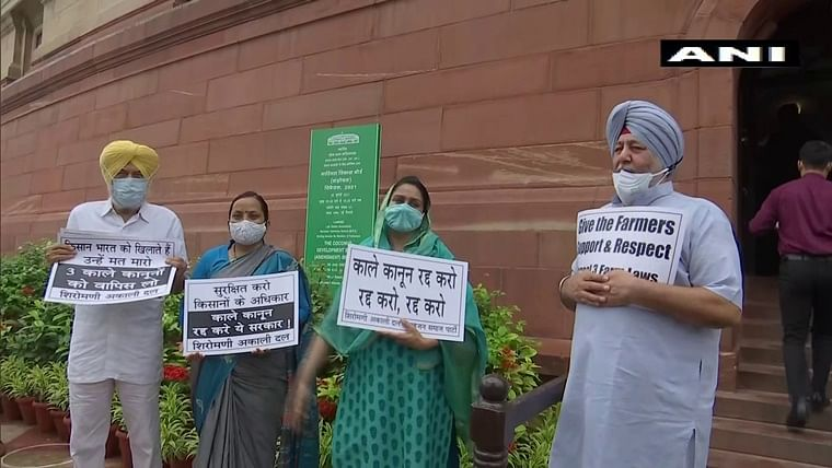 Monsoon Session: Opposition MPs stage protest over farm laws inside Parliament premises
