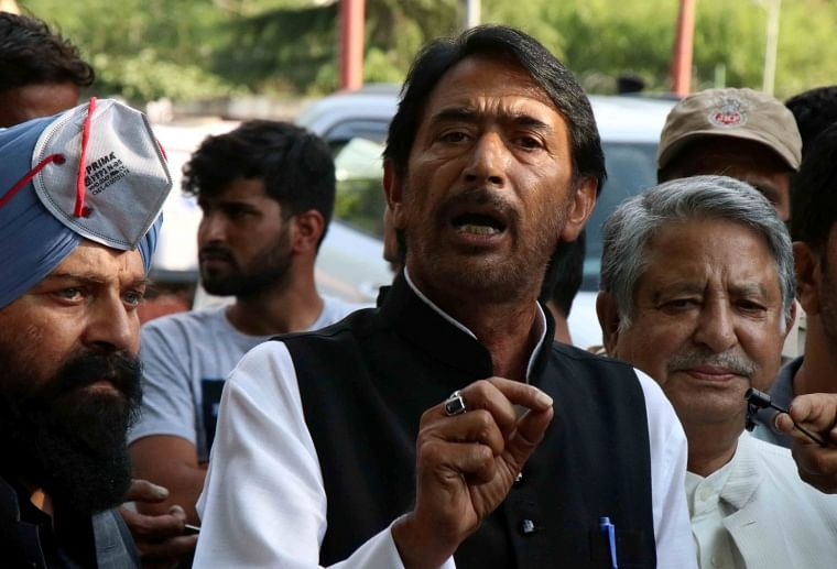 Jammu and Kashmir Pradesh Congress Committee president Ghulam Ahmad Mir speaks to the media after meeting with Delimitation Commission Panel, in Srinagar