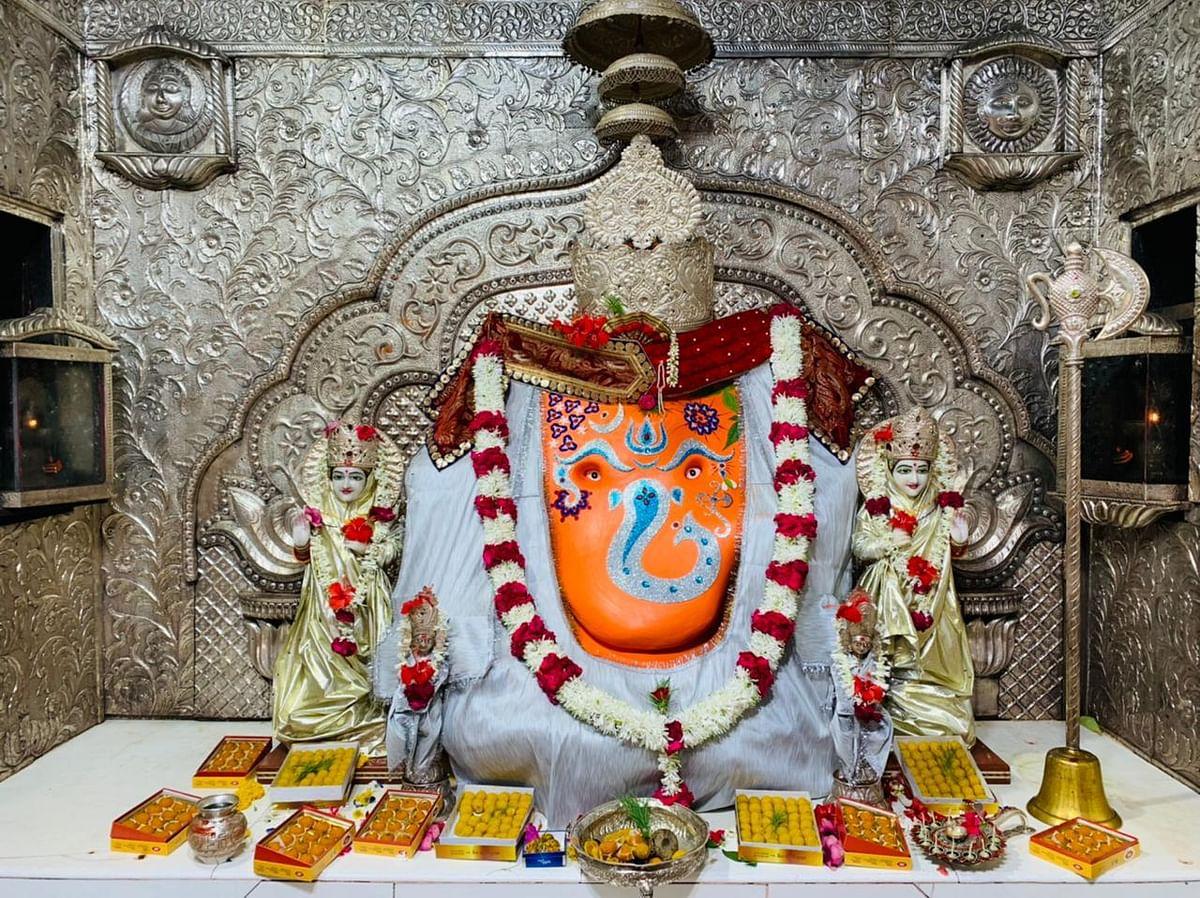 Lord Ganesha in Khajrana temple on Monday.