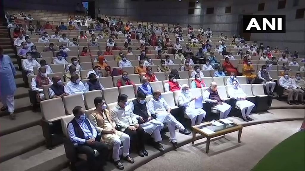 BJP holds parliamentary party meet over Pegasus row, COVID-19, PM Modi attends