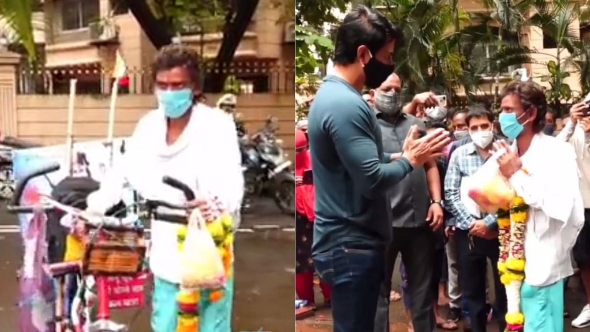 Watch: Sonu Sood meets a fan who travelled 1200 km to Mumbai on his cycle