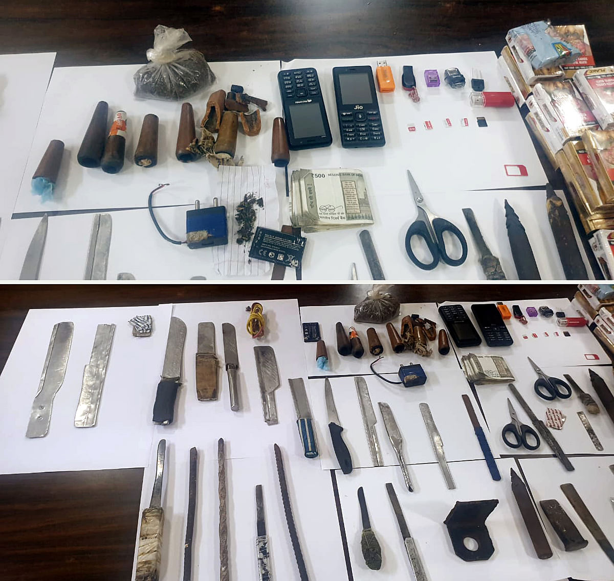 Karnataka, July 10 (ANI): Combo picture of mobile phones, sim cards, and other essentials seized by Bengaluru Central Crime Branch (CCB) after conducting the raid and search operations at Parappana Agrahara jail, in Bengaluru on Saturday.