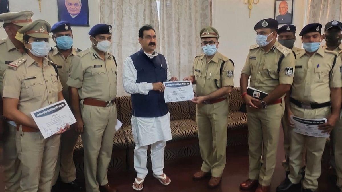 Indore: Home minister Narottam Mishra felicitates team behind biggest drug haul