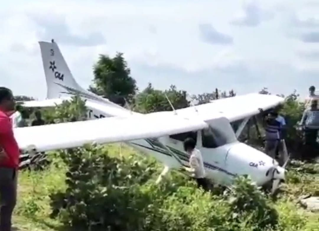 The aircraft hit the ground and went off the road