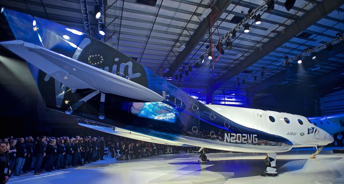 """SpaceShipTwo """"Unity"""" at rollout event on 19 February 2016 in Virgin Galactic FAITH hangar in California."""