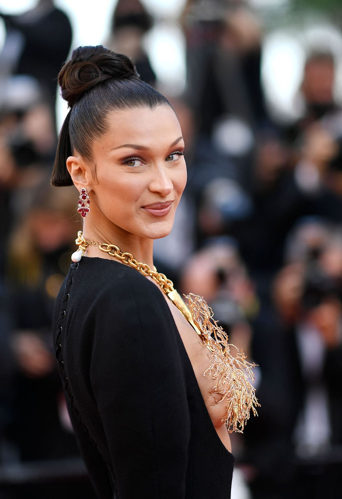 Cannes 2021: Bella Hadid wears a gold lung necklace to cover her breasts in this risqué outfit – see pics