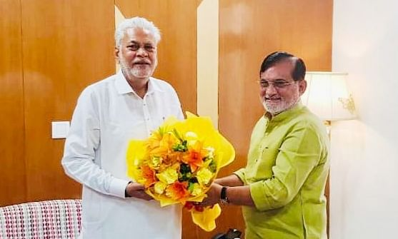 Administrator Praful Patel meets newly appointed Union Minister of Fisheries, Animal Husbandry and Dairy farm Parshottam Rupala