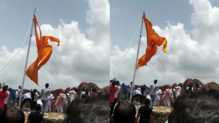 Rajasthan: Saffron flag torn down in presence of MLA Ramkesh Meena in Jaipur; watch video