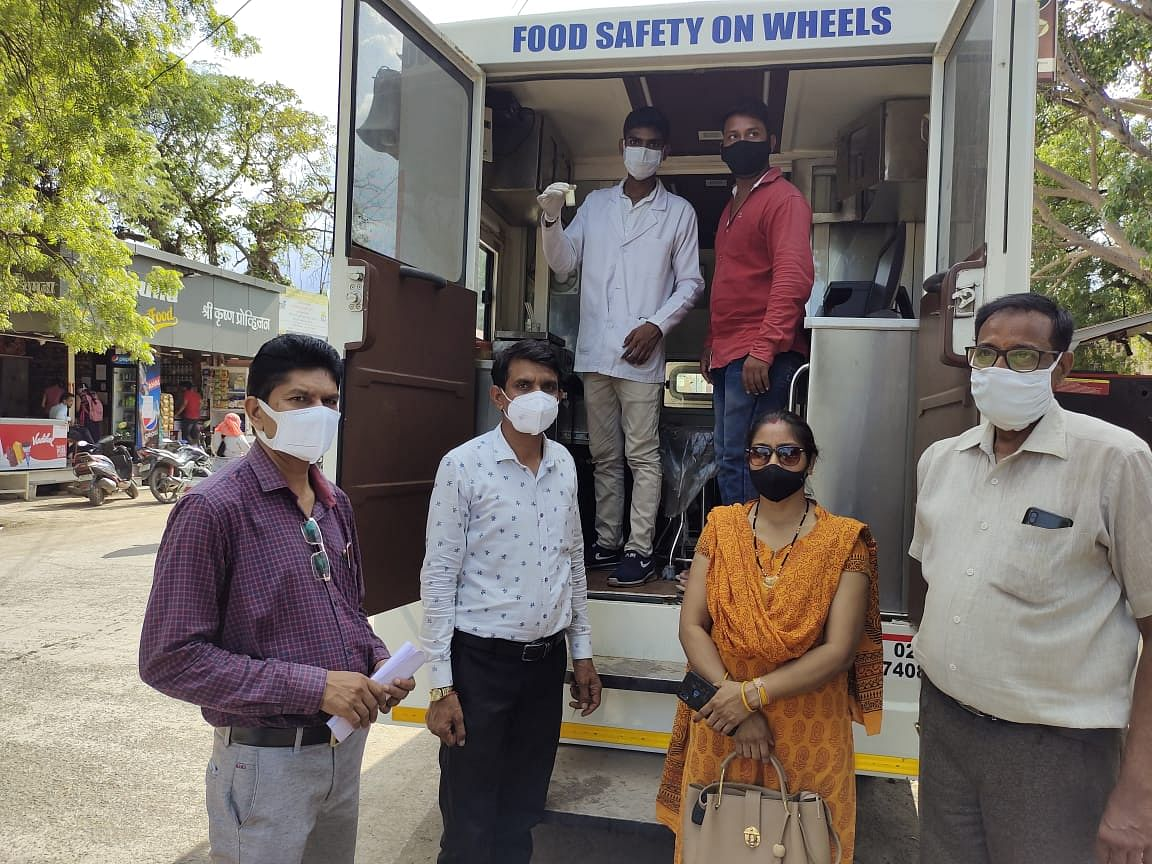 Officials with mobile testing lab in Barwani