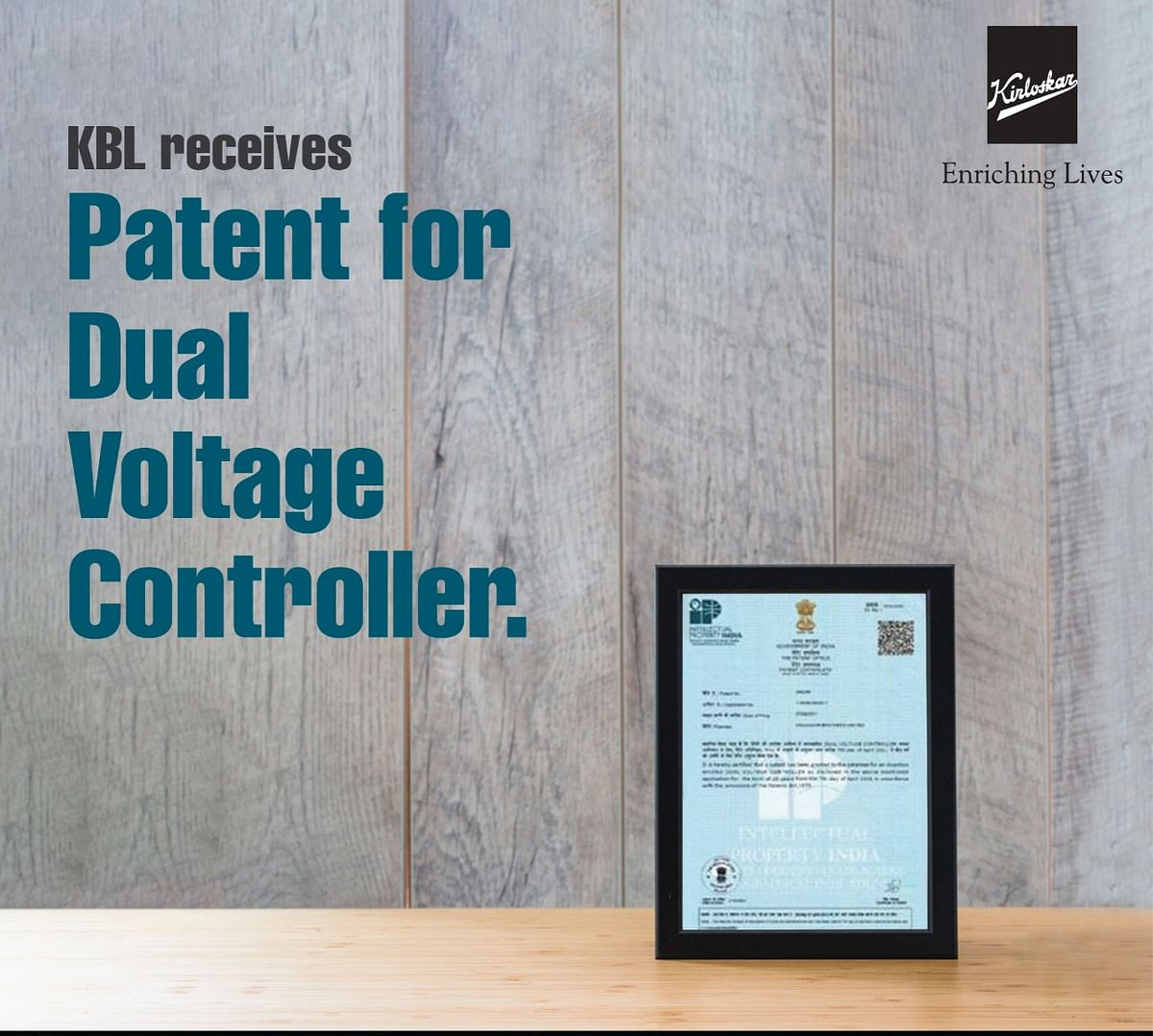 The patent gives KBL a sustainable competitive advantage as the device can be used to significantly improve the performance of a pump in areas where voltage fluctuation is an issue.