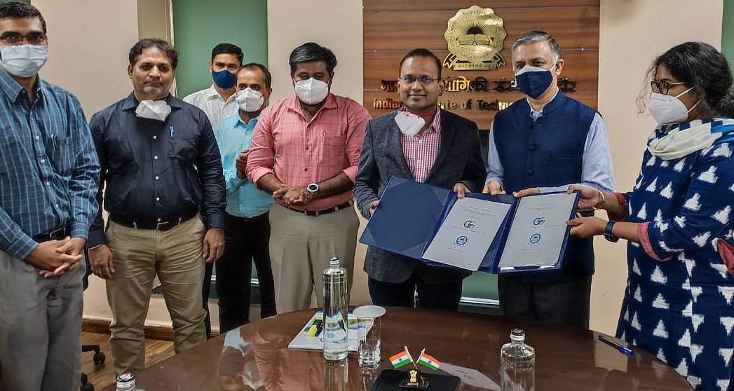 IIT Indore and AIGGPA officials pose for a photo after inking pact on IIT Indore campus on Tuesday.