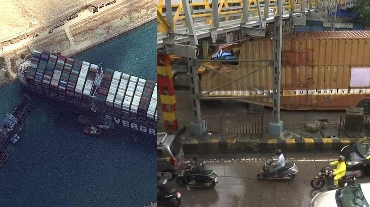 'Sasta Suez canal blockade': Container truck stuck under bridge in Mumbai's King's Circle area causes heavy traffic; Twitter outraged