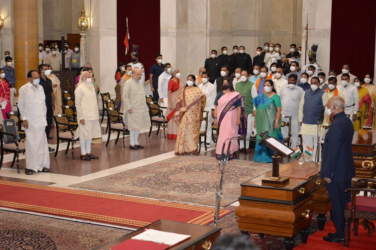New Delhi: President Ram Nath Kovind, Vice President M Venkaiah Naidu, Prime Minister Narendra Modi and Home Minister Amit Shah at the national anthem after the swearing-in ceremony of new ministers at the Rashtrapati Bhavan, in New Delhi, Wednesday, July 7, 2021.