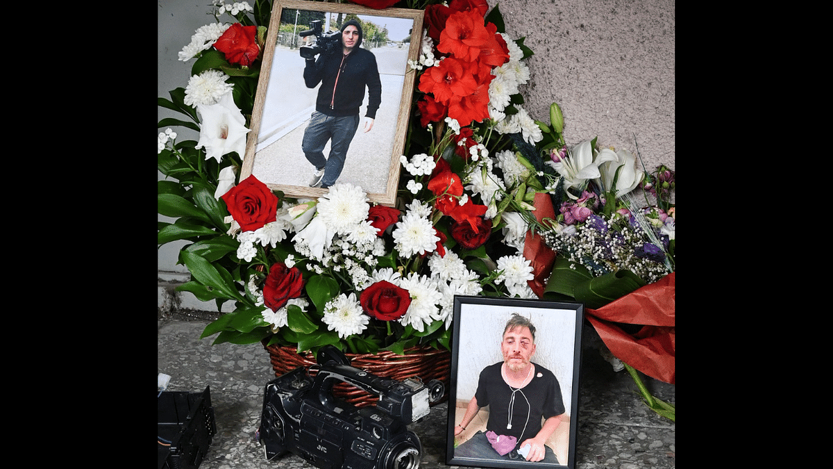 This photograph taken on July 13, 2021 shows pieces of broken media equipment gathered next to an improvised memorial in Tbilisi for Alexander Lashkarava, 37, a cameraman who died shortly after being assaulted on July 5 by violent anti-LGBTQ protesters