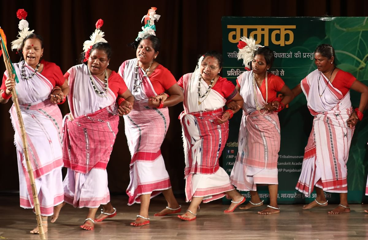 Tribal artiste Sumanti Devi and her troupe presenting Oraon dance in Bhopal on Tuesday evening.