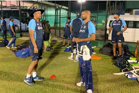 Rahul Dravid (L) and skipper Shikhar Dhawan
