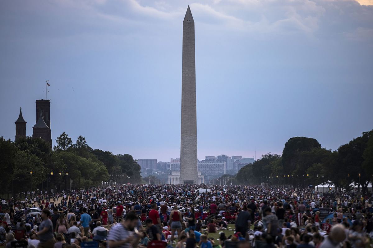 People fill the National Mall to watch the Independence Day celebrations on July 4, 2021 in Washington, DC.