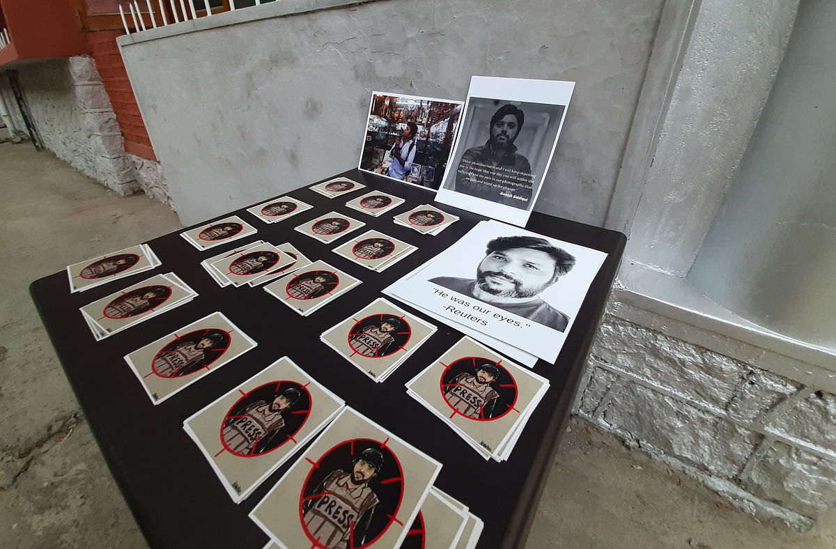 Photographs shot by Reuters photographer Danish Siddiqui are displayed as a tribute to him at the Kashmir Press Club in Srinagar, Jammu & Kashmir on July 18, 2021.