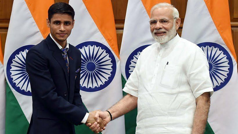 Indian boxer Gaurav Solanki with Prime Minister Narendra Modi
