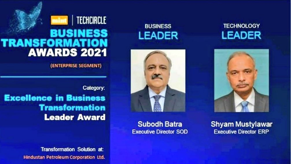 HPCL bags Mint –Tech circle's Excellence in Business Transformation award